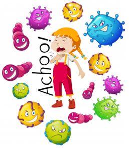 enfant cerné par le virus du rhume et de la grippe